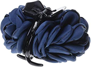 NiceWave Sungpunet KoreRibbon Rose Flower Bow Jaw Clip Barrette Hair Claws Headwear for Women Accessories - Navy Bluean Beauty Ribbon Rose Flower Useful Tools