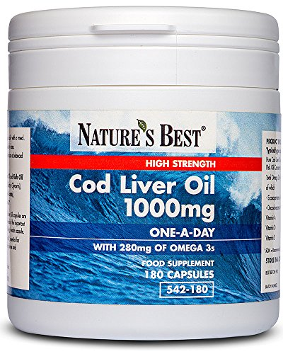 Cod Liver Oil 1000mg - High Strength - 180 Capsules - One-A-Day - Omega 3s with Vitamin D3 10µg - UK Made – 5-Stage Purification Process