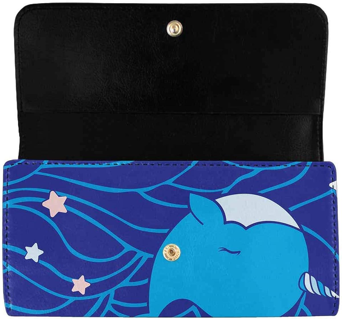 INTERESTPRINT Women's Trifold Clutch Purses Unicorn Stars and Waves Pattern Long Card Holder Handbags