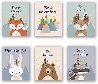BuKu Woodland Animal Art Print, Safari Fox Rabbit Reindeer Bear Mountain Inspirational Quote Canvas Wall Print for Kids Be...