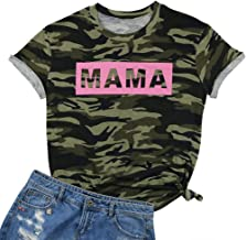EGELEXY Women's Camo Camouflage T Shirt Mama Letters Print Tops Tee Short Sleeve Mom Mother's Gift