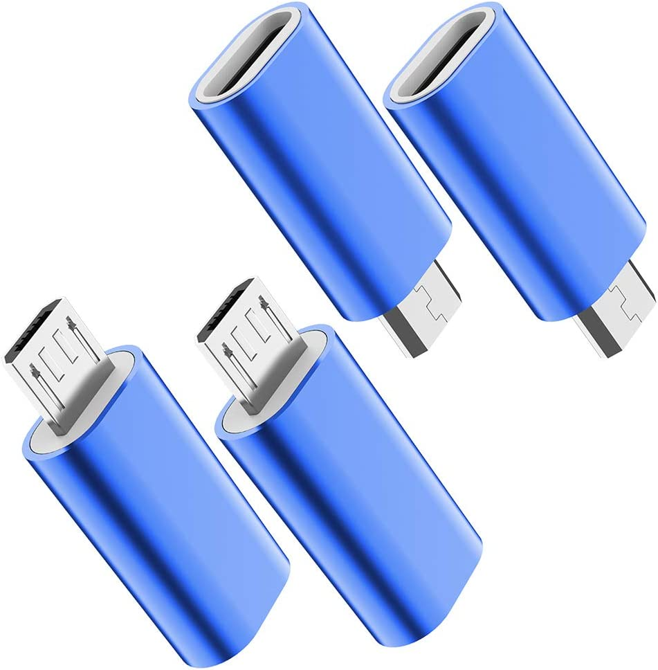 USB C to Micro USB Adapter, (4-Pack) Type C Female to Micro USB Male Convert Connector Support Charge & Data Sync Compatible with Samsung Galaxy S7/S7 Edge, Nexus 5/6 and Micro USB Devices (Blue)
