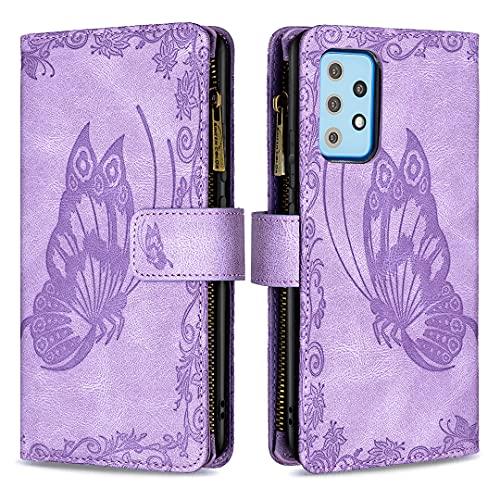 Lavender1 Funda para Samsung Galaxy A52 5G, funda de piel sintética con tapa de poliuretano termoplástico (TPU), antigolpes, diseño de mariposa, con tarjetero y cierre magnético, color morado