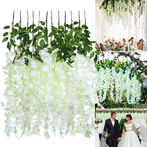IMIKEYA 12 Pack Artificial Wisteria Flowers Fake Wisteria Vine Ratta Hanging Garland Silk Flowers for Wedding Party Home Decorations, 3.25ft, White
