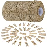 Anpro 812cm Jute Twine String and 50 psc Mini Wooden Pegs, Brown Hessian Twine String for Photos - Christmas Card Holder, Arts Crafts Gift Twine and Clips - Gardening Twine String…
