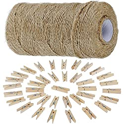 Anpro Jute Twine String and Pegs