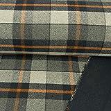 Wollstoff Doubleface Karo grau blau orange Modestoffe -