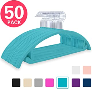 Premium Velvet Hangers (Pack of 50) Heavyduty- Non Slip No Shoulder Bump Suit Hangers - Chrome Hooks,Space Saving Clothes Hangers,Rounded Hangers for Coat,Sweater,Jackets,Pants,Shirts (Teal Green)