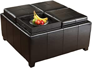 Christopher Knight Home Harley Leather Black 4-Tray Top Storage Ottoman