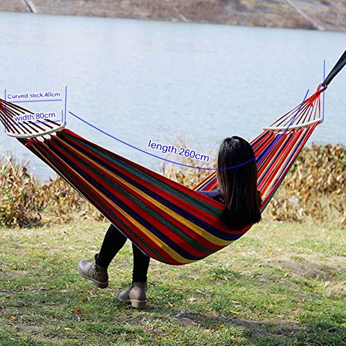 Camping Hammok Outdoor Furniture Canvas Fabric Double Wood Spreader Bar Stick Hammock Tent Outdoor Camping Swing Hanging Two-Person Colorful Style A