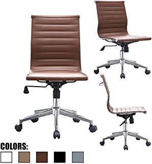 2xhome Modern Mid Back Office Chair Armless Ribbed PU Leather Swivel Tilt Adjustable Chair Designer Boss Executive Management Manager Office Conference Room Work Task Computer (Brown)