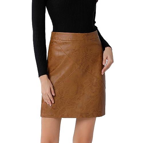 307b6d34b4a GUANYY Women's Faux Leather Vintage High Waist Classic Slim Mini Pencil  Skirt