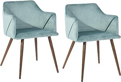 FurnitureR Juego de 2 sillas de Comedor de Terciopelo Sillas Modernas con Brazos Decorativos de Mediados de Siglo Sillas tapizadas con Patas de Metal para Sala de Estar Aqua