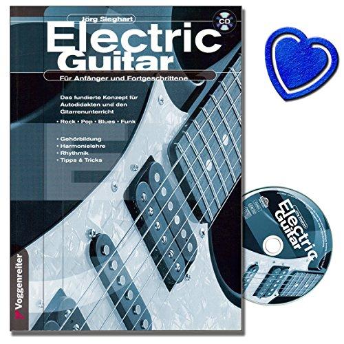 Elektrische gitaar (+CD) - De gitaarschool voor beginners en gevorderden, zowel voor zelfstudie als voor onderwijs met voorbeelden van rok, pop, blues en radio (zakboek) van Jörg Sieghart (noten/sheetmusic) met kleurrijke hartvormige muziekklem