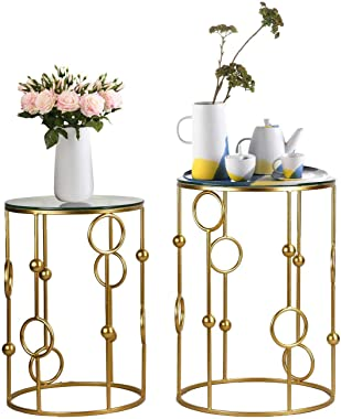 End Tables Set of 2, Gold Nesting Side Coffee Table Decorative Round Nightstands (Glass Top)