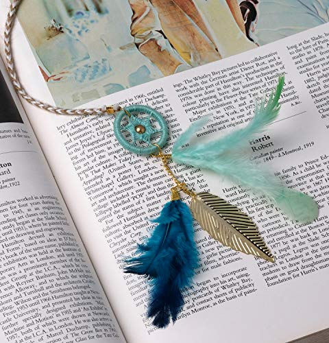 Rooh Dream Catcher ~ Vintage Blue Bookmark ~ Handmade Hangings for Positivity (Can be Used as Home DÃcor Accents, Wall Hangings, Garden, Car, Outdoor, Bedroom, Key Chain, Meditation Room, Yoga Temple