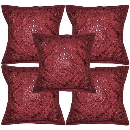 "Indian-Cotton Mirror Work Bed Decor Sofa Throw Cotton Pillow Cushion Cover 16/"""
