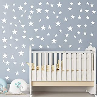 Multi Size Stars Pattern DIY Wall Stickers Removable Home Decoration Starts Wall adesivo Baby Kids Nursery Bedroom Wall Decor Stickers YYU-10 (White)