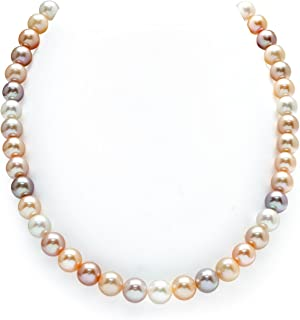 THE PEARL SOURCE 14K Gold 9-10mm AAAA Quality Multicolor Freshwater Cultured Pearl Necklace for Women in 20