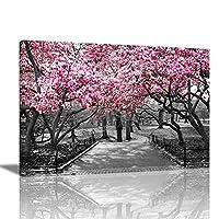 アートパネル ピンクの桜の白黒の街 絵画 モダン オシャレ インテリア 壁飾り アートポスター HDしゃしん 木枠付きの完成品 装飾 軽くて取り付けやすい(70x110cm, 桜の花3)