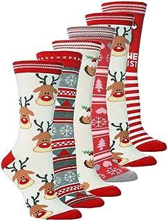 6 Pares Medias de navidad,Calcetines para Mujer,Calcetines de Invierno Calcetines Navidad Mujer Navidad Algodón Calcetines de Cálidos Calcetines Navidad Regalo Calcetines para Adultos