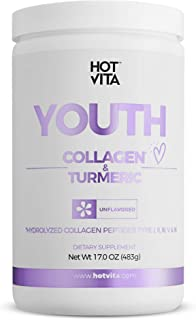 Hot Vita Youth Collagen and Turmeric Powder Peptides - Hydrolyzed, Gluten Free Antioxidant Supplement with Amino Acids for...
