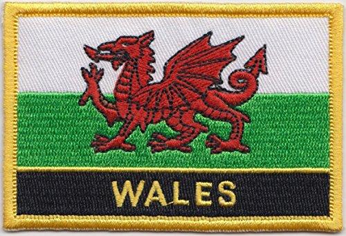 Wales Flagge Bestickt rechteckig Patch Badge/Nähen auf oder Bügeln 1000Flaggen