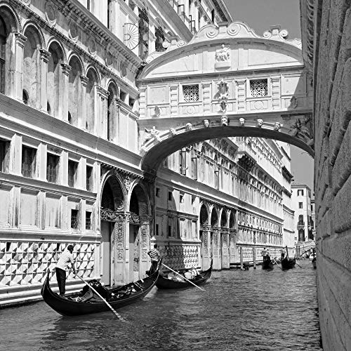 Gondola in Venice Cost Canal Black and White Italy Europe - Landscape City Poster Print Wall Decor - 22 by 22 inches