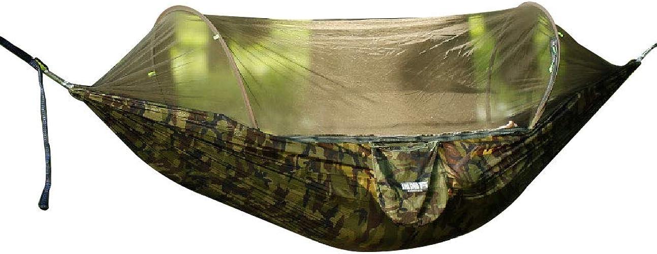 NANANA Hamac de Camping Léger, Oscillation Simple Portative de Tente D'hamac Coupe-Vent avec Moustiquaire pour Le Jardin en Plein Air Camping Randonnée Randonnée Voyage,Camouflage