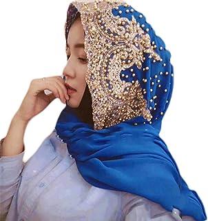 kaaka Accessory Fashion Women Bead Decor Islam Muslim Ramadan Hijab Wrap Shawl Scarf Blue