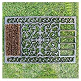 Doormats Garden Mat Rectangle Cast Iron, with Brush, Distressed Style Farmhouse Porch Front Entryway Mat, Dirt Debris Mud Scraper (Size : 58×36.8cm/22.8×14.5in)