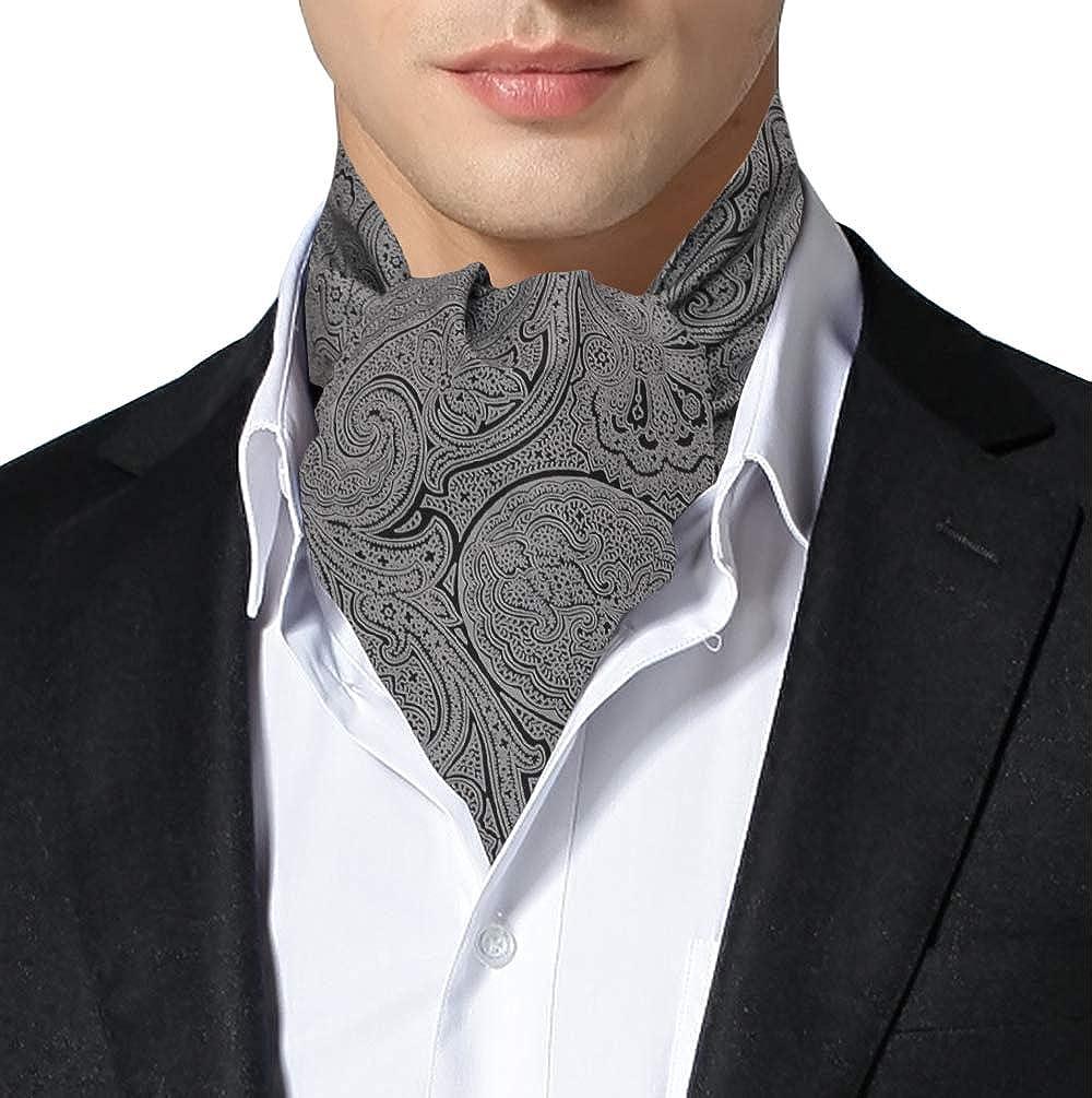 Remo Sartori Made in Italy Men's Silk Grey Paisley Self Cravat Ascot Tie