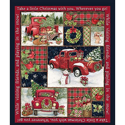 Christmas Fabric Red Truck Collage Panel from Springs Creative 100% Cotton Sold by The Panel Fabric by The Yard