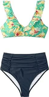 CUPSHE Women's Ruffled Hibiscus Ruched High Waisted Bikini
