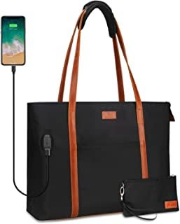 Laptop Tote Bag for Women Teacher Work Office USB Bags Fits 15.6 inches Laptop (Black and Brown Strap)