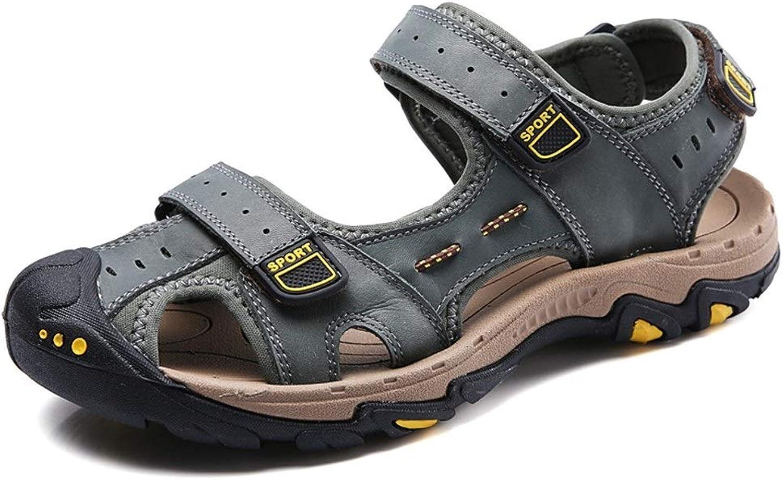 EGS-schuhe Sandale für Mann im Freien beilufige Strandschuhe Slip On OX Leder Klettverschluss Anti-Kollisions-Zeh,Grille Schuhe (Farbe   Khaki, Gre   47 EU)