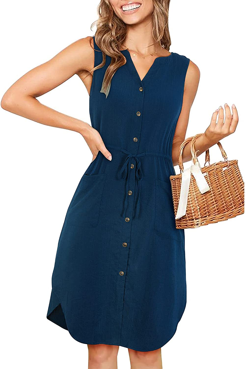KILIG Women's Summer V Neck Sleeveless Button Down Elastic Casual Dress with Pockets