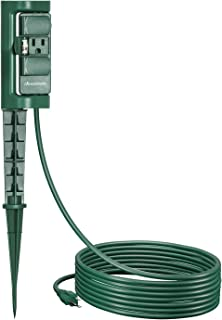DEWENWILS Outdoor Power Strip Stake, Waterproof Yard Stake Switch, 10 ft Long Extension Cord, 3 Grounded 180 Degree Rotating Outlets for Christmas Lights, fountain, pool pumps, 15A/1875W UL Listed