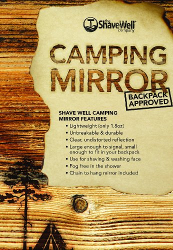 The Shave Well Company Camping Mirror for Shaving, Signaling | Fogless, Unbreakable, Handheld with Hanging Chain | Use for Shower, Hiking, Backpacking, Outdoors