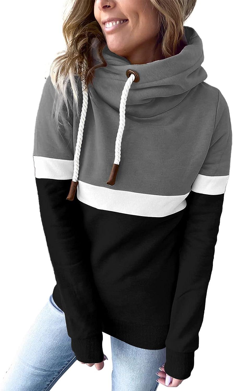 Womens Color Block Long Sleeve Hoodies Turtle Cowl neck Drawstring Chunky Sweatshirt Pullover Tops