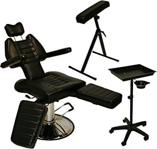 InkBed Tattoo Package - Sturdy Reclining Hydraulic Ink Chair, Armrest Bar, Tray Stand with Utility Cup Studio Salon Equipment