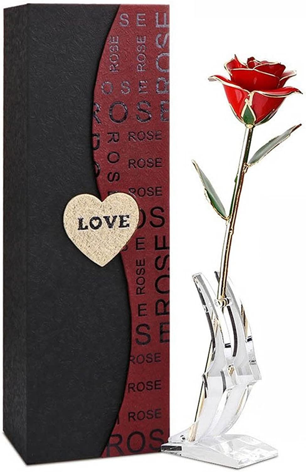 Artificial Flower Gift, Coxeer Long Stem Fake Romantic pink with Stand Holder and Gift Box