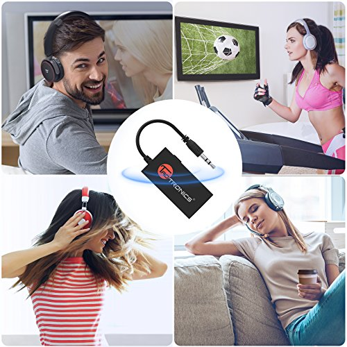 TaoTronics Portable Bluetooth Transmitter for TV Wireless Audio Adapter Connected to 3.5mm Audio Receiver, Paired with Bluetooth Headphones, aptX Low Latency, A2DP Stereo Music Transmission