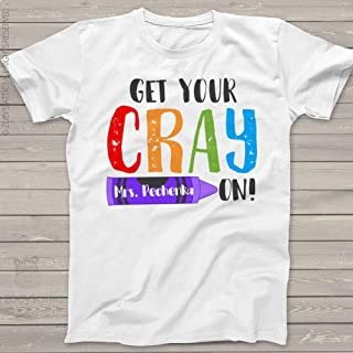 Teacher Get Your Crayon Personalized Crew Neck Or Vneck Shirt - Back To School Teacher Shirt Mscl-050-t