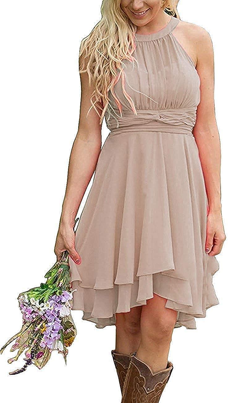Faxpox Women's Knee Length Country Bridesmaid Dress Western Wedding Guest Dress