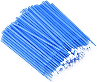 100個使い捨てマイクロアプリケーターブラシまつげエクステンション綿棒まつげマイクロブラシワンドメイクアップツール(青、ブラシ径2mm)