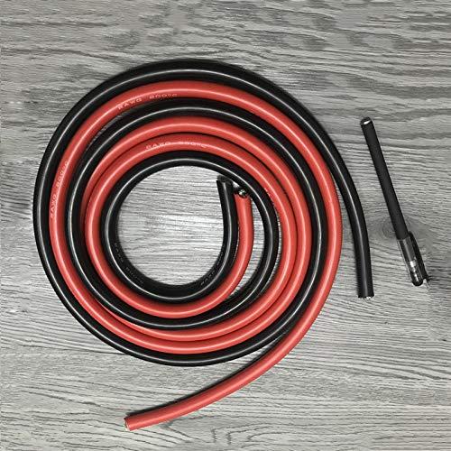 LRrui-Resistent Wire 10 meter högtemperatur silikon kabel sladd 10-26AWG 5 m röd 5 m svart silikon tråd konserverad koper kabel (längd 5 m röd och 5 m svart, specifikation: 12AWG)