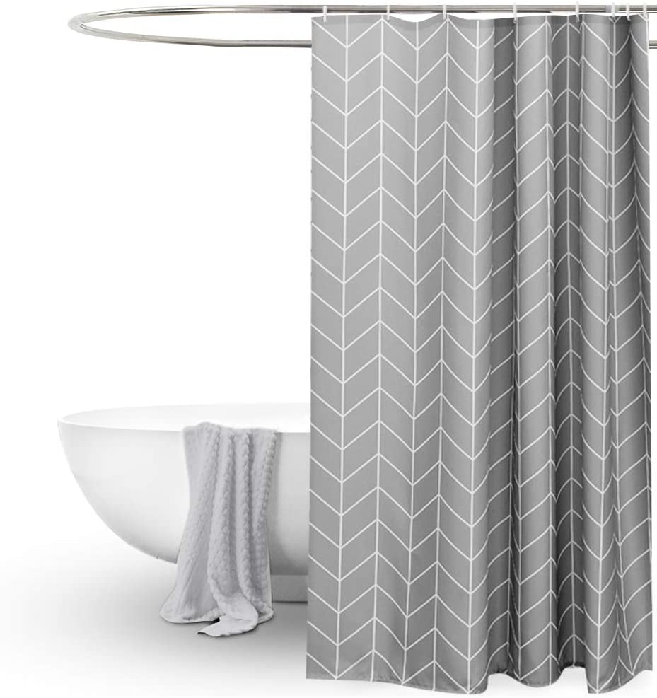 EurCross Grey Shower Curtain for Bathroom,Geometric Pattern,Water Repellant Anti Mould Extra Wide Long Shower Curtains 200 X 200cm Drop for Wet Room 200x200cm Striped Grey