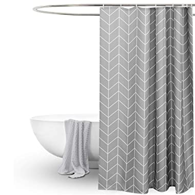 EurCross Long Shower Curtain 72x78 inch, Gray White Geometric Fabric Shower Curtains for Bathroom Showers, Stalls and Bathtubs, Machine Washable