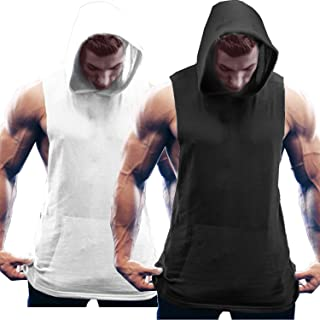 Men's 2 Pack Workout Hooded Tank Tops Bodybuilding Muscle Cut Off T Shirt Sleeveless Gym Hoodies